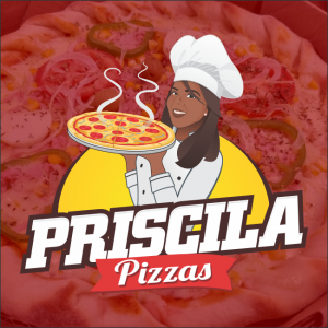Priscila Pizzas Logotipo com Mascote